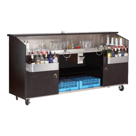 "Advance Tabco R-8-B Portable Bar, 96""W x 24-1/2""D x 47""H, (2) ice bins with drain valves with (4) bottle storage, stainless steel work top, locking door"