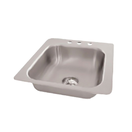 "Advance Tabco SS-1-1919-7 Smart Series Drop-In Sink, 1-compartment, 16"" wide x 14"" front-to-back x 7-1/2"" deep bowl, 18 gauge 304 series stainless steel"
