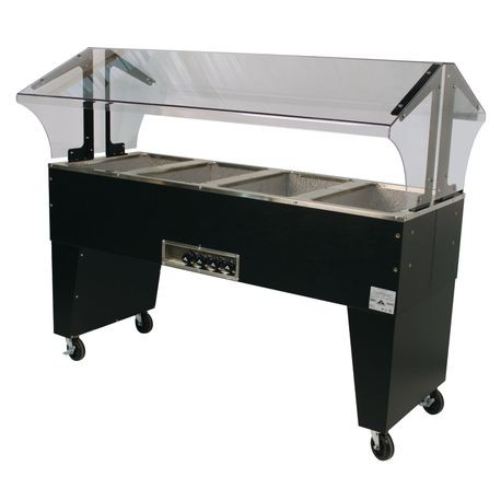 "Advance Tabco B4-120-B Portable Hot Food Buffet Table, electric, 62-7/16""W x 35""D x 53""H, double sided sneeze guard, (4) 12"" x 20"" galvanized wells"