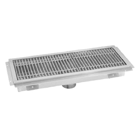 "Advance Tabco FTG-2460 Floor Trough, 24""W, 60""L, 4""D, 14 gauge 304 series stainless steel, includes stainless steel subway grating constructed from 3/16"""