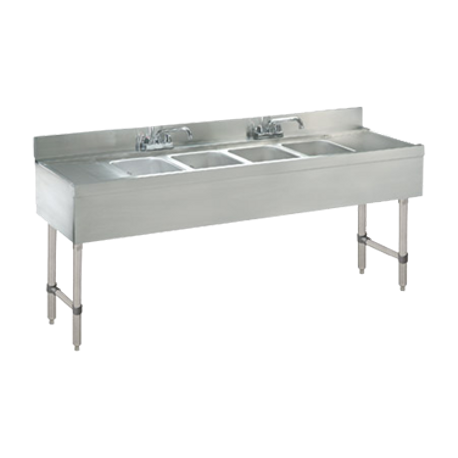 "Advance Tabco CRB-64C-X Underbar Sink Unit, 4-compartment, 72""W x 21""D x 33""H overall, 4""H backsplash, (4) 10""W x 14""D x 10"" deep fabricated sink bowls"