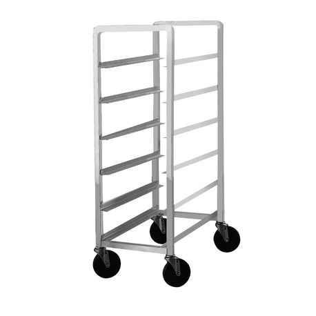 "Advance Tabco PL6-12 Mobile Platter Rack, intermediate height, open sides, with slides for 12-1/2"" platters, holds 6 platters, all-welded aluminum"