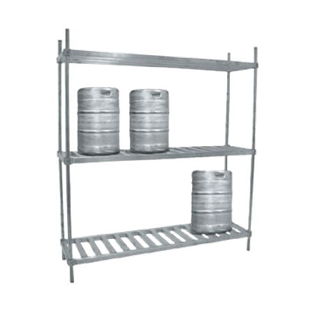 "Advance Tabco KR-60 Keg Rack, 60""W x 20""D x 76""H, (3) shelves, accommodates (6) kegs, mid & bottom shelves are constructed of 1-3/4"" square tubing running"