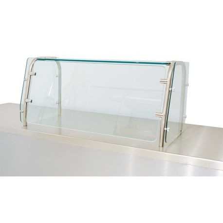 "Advance Tabco STFC-12-48 Food shield, cafeteria style with glass top, fixed front glass, 48"" long, 20"" tall, 1/4"" thick heat tempered glass front & side"