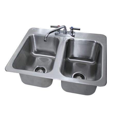 "Advance Tabco DI-2-10 Drop-In Sink, 2-compartment, 10"" wide x 14"" front-to-back x 10"" deep each/bowl, 18 gauge 304 series stainless steel, deck mounted 8"""