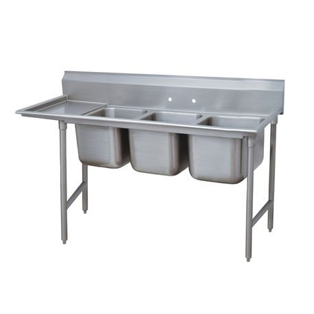 "Advance Tabco 93-43-72-36L Regaline Sink, 3-compartment, with left-hand drainboard, 24"" front-to-back x 24""W sink compartments, 12"" deep, with 8""H"