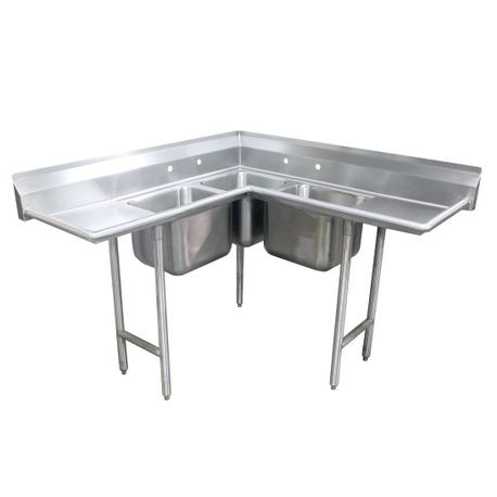 "Advance Tabco 94-K4-24D Corner Sink, 3-compartment, (3) 24"" x 24"" x 12"" bowls, with 24"" left & right-hand drainboards, with 8""H backsplash, stainless"