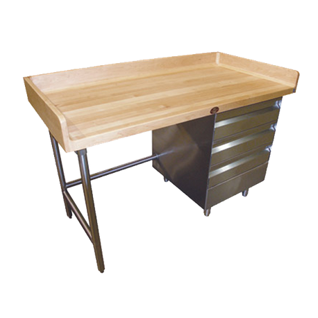 "Advance Tabco BGT-366R-X Bakers Top Work Table, 72""W x 36""D, 1-3/4"" thick wood top with 4"" splash"