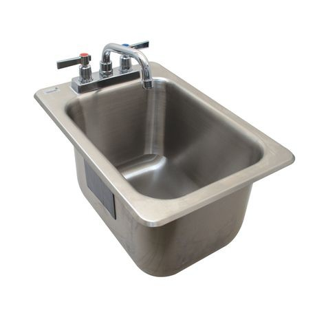 "Advance Tabco DBS-1-X Bar Sink, drop-in, 12-5/16""W x 21-1/8""D x 11-8/10""H (overall), (1) 10""W x 14""D x 10"" deep sink bowl with 1-1/2"" I.P.S. drain"