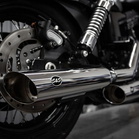 "Slash Cut Slip-On Mufflers Chrome with Slash Down End - 3.25"" for 1995-2009 Dyna<sup>®</sup> models with staggered exhaust  (FXD<sup>®</sup>, FXDB<sup>®</sup>, etc)"
