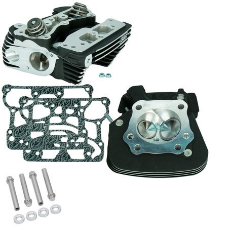 "S&S<sup>®</sup> Super Stock<sup>®</sup> 91cc Cylinder Heads For For S&S<sup>®</sup> T-Series T2 Complete Engines and 2006 HD<sup>®</sup> Dyna<sup>®</sup> Models and All 2007-'16 Models With S&S<sup>®</sup> 4-1/8"" Bore Hot Set Up Kit - Black Wrinkle Powder"