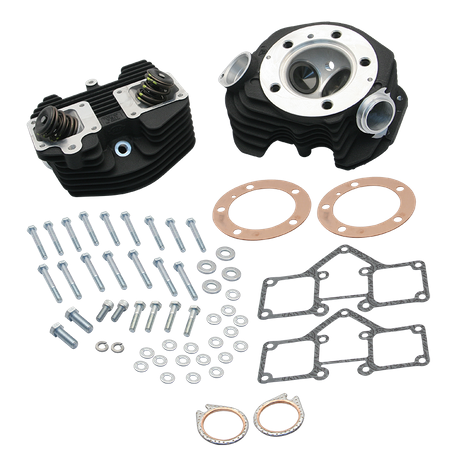 "S&S<sup>®</sup> Super Stock<sup>®</sup> 3-5/8"" Bore O-ring Style Single Plug Cylinder Head Kit for 1966-'78 Big Twins - Wrinkle Black Powder Coat FInish"
