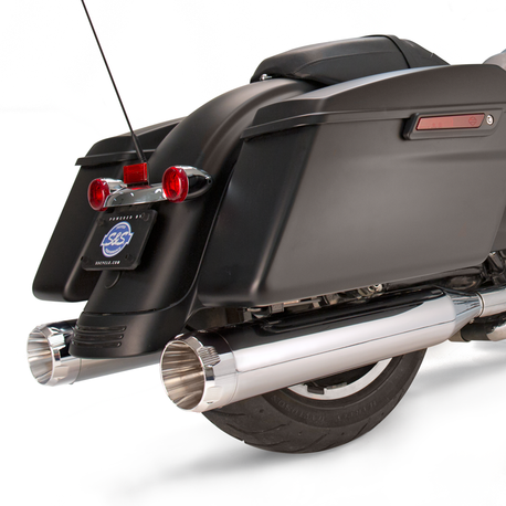 "Mk45 Slip-On Mufflers Chrome with Chrome Thruster End Caps - 4.5"" for 1995-'16 Touring Models"