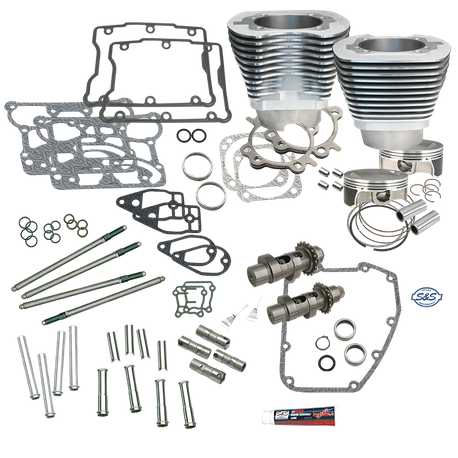 "S&S 106"" Big Bore Hot Set Up Kit<sup>®</sup> Without Cylinder Heads For 2007-'17 Big Twins - Silver"