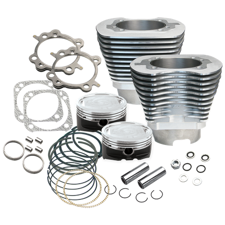 "4 1/8"" Bore Cylinder and Piston Kit Pistons for 124"" Hot Set Up<sup>®</sup> with Stock Heads For 1999-'06 Big Twins - Silver Powder Coat Finish"