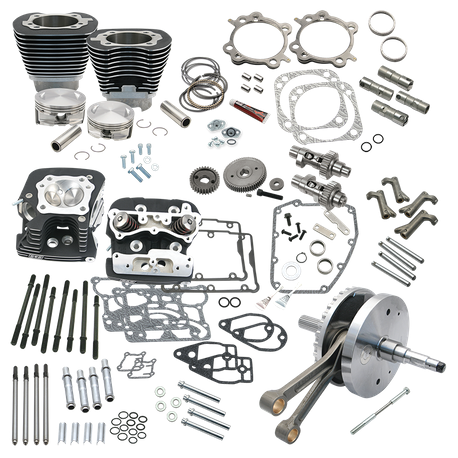 "124"" Hot Set Up Kit<sup>®</sup> With S&S Cylinder Heads For  2006 HD<sup>®</sup> Dyna<sup>®</sup> models and all 2007-'17 Non-Balanced Big Twins - Wrinkle Black"