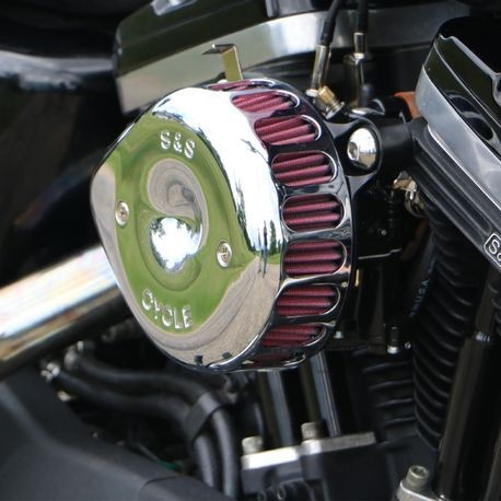 S&S<sup>®</sup> Chrome Mini Teardrop Stealth Air Cleaner Kit for 1991-2003 xl with S&S Super E/G