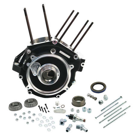 "Super Stock<sup>®</sup> Alternator Style Crankcase for 1984-'91 Big Twins with 3-5/8"" Bore - Wrinkle Black"