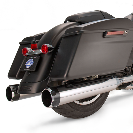 "Mk45 Slip-On Mufflers Chrome with Highlight Machined Black Thruster End Caps - 4.5"" for 1995-'16 Touring Models"