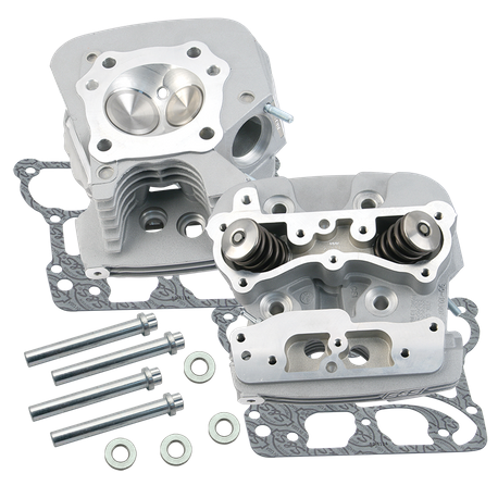 "S&S<sup>®</sup> Super Stock<sup>®</sup> 91cc Cylinder Heads For For S&S<sup>®</sup> T-Series T2 Complete Engines and 2006 HD<sup>®</sup> Dyna<sup>®</sup> Models and All 2007-'16 Models With S&S<sup>®</sup> 4-1/8"" Bore Hot Set Up Kit - Silver Powder Coat F"