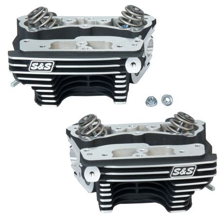 "S&S<sup>®</sup> Super Stock<sup>®</sup> Cylinder Heads For S&S<sup>®</sup> 4-1/8"" V-Series Engines For 1984-'99 - Wrinkle Black Powder Coat Finish"