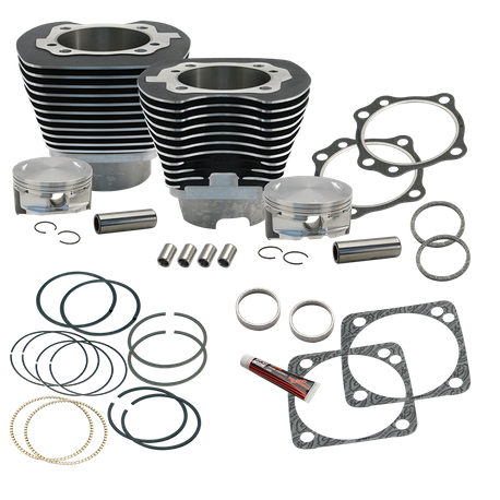 "4 1/8"" Bore Cylinder & Pistons Kit for Early Production S&S T117 Engines For 1999-'06 Big Twins - Wrinkle Black Powder Coat Finish"