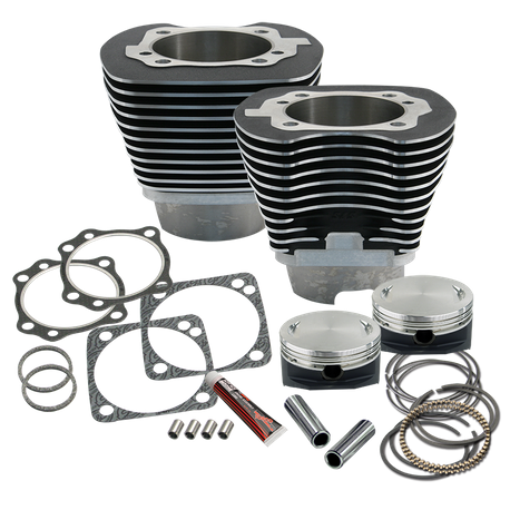"4-1/8"" Bore Cylinder & Pistons Kit for Early Production S&S T124 Engines For 1999-'06 Big Twins - Wrinkle Black Powder Coat Finish"