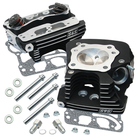 S&S® Super Stock® 89cc Cylinder Head Kit For 1999-'05 HD® Big Twins - Black  Wrinkle Powder Coat Finish