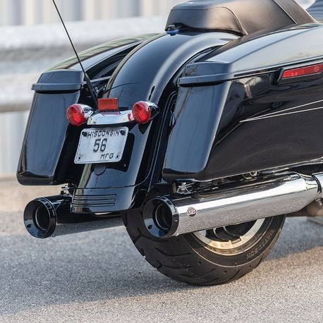 GNX Slip-On Mufflers, Chrome with Tuxedo Black End Caps for 2017-20 HD<sup>®</sup> Touring Models
