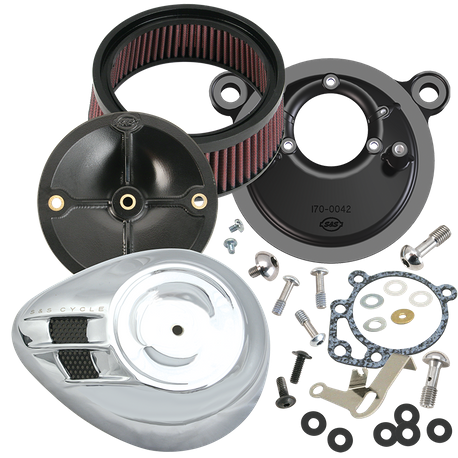 S&S<sup>®</sup> Stealth Air Cleaner Kit With Air Stream Teardrop Cover For 1991-'03 HD<sup>®</sup> Big Twin Models With S&S<sup>®</sup> Super E or G Carburetor - Chrome Finish