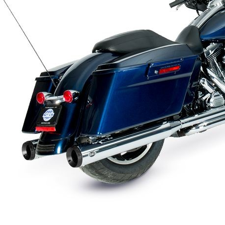 "Grand National Slip-On Mufflers Chrome with Black End Caps - 4"" for 1995-16 Touring Models, 2009-19 Tri Glide<sup>®</sup> Models"