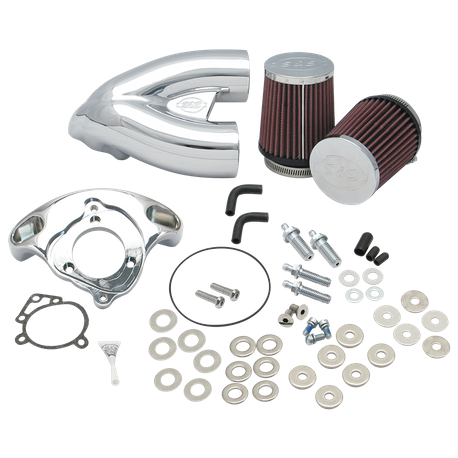 "S&S<sup>®</sup> Single Bore Tuned Induction System For S&S<sup>®</sup> 4-1/8"" Bore Engines With S&S<sup>®</sup> Single Bore EFI Throttle Body For 1984-'16 Big Twins - Chrome Finish"