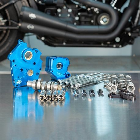 Chain Drive 550C Cam Chest Kit with Chrome Pushrod Tubes for Water Cooled 2017-up M8 Models