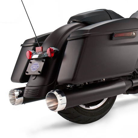 "Mk45 Slip-On Mufflers Ceramic Black with Chrome Thruster End Caps - 4.5"" for 1995-'16 Touring Models"