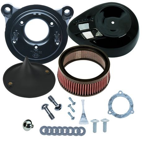 Stealth Air Cleaner Kit with Black Air Stream for 2008-'16 Touring and '16-'17 Softail<sup>®</sup> Models