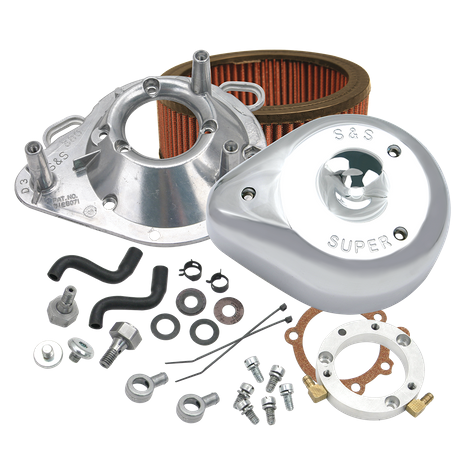 S&S<sup>®</sup> Teardrop Air Cleaner Kit for 2001-'17 HD<sup>®</sup> Stock EFI Big Twin (except Throttle By Wire and CVO<sup>®</sup>) Models - Chrome