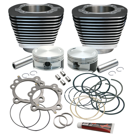 "Replacement 3-7/8"" Bore Cylinder & Piston Kit For S&S 106"" Stroker Kits For 1999-'16 Big Twins. - Wrinkle Black Finish"