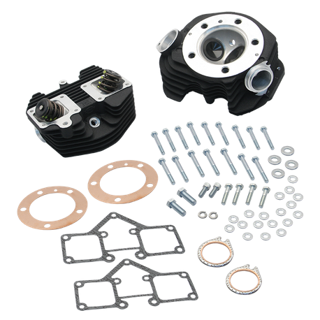 S&S<sup>®</sup> Super Stock<sup>®</sup> Stock Bore O-ring Style Single Plug Cylinder Head Kit for 1966-'78 Big Twins - Wrinkle Black Powder Coat FInish