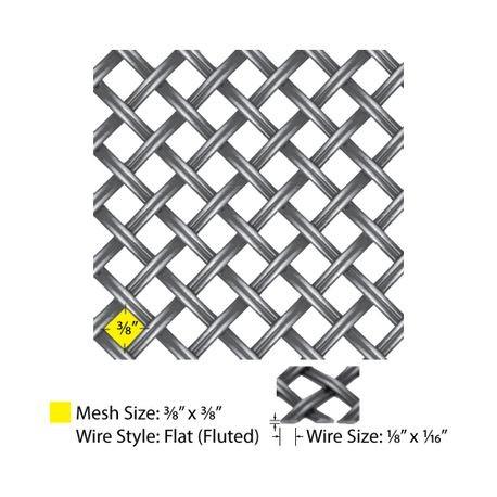 3 X 4 Flat Single Crimp Antique Dark Pewter Woven Wire