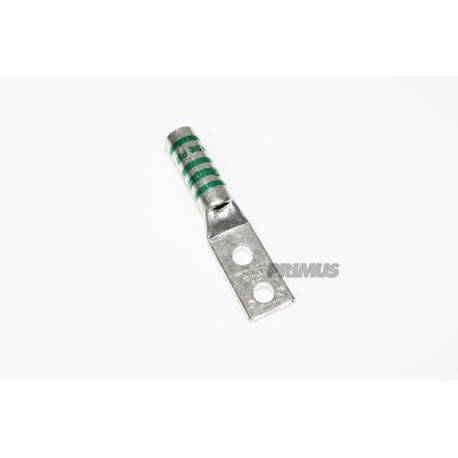 #1 AWG LUG WITH INSPECTION WINDOW, 2 HOLE, 1/4 IN. STUD, 5/8 IN. SPACE, LONG BARREL, GREEN