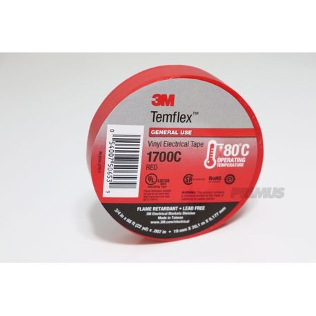3M Temflex Red Vinyl Electrical Tape 3/4 IN. X 66 ft.