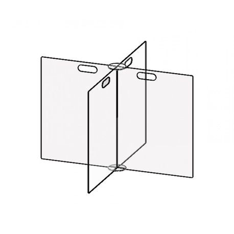 Accuform® Accu-Shield™ PRL400 SG Clear Barrier Panel: 4-Way Table Divider