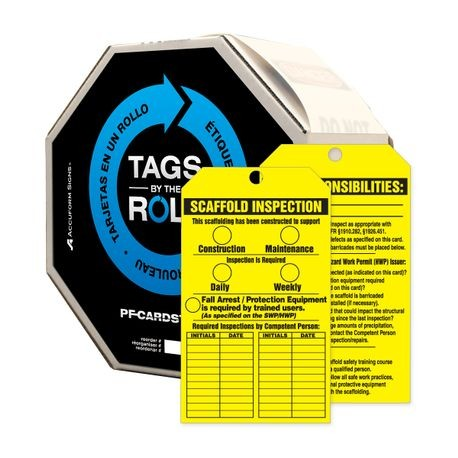 Accuform® TAR736 Tags By-The-Roll: SCAFFOLD INSPECTION/KEY RESPONSIBILITIES