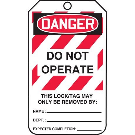 Accuform® MLT406CTP Safety Tag: DANGER DO NOT OPERATE (LOTO)