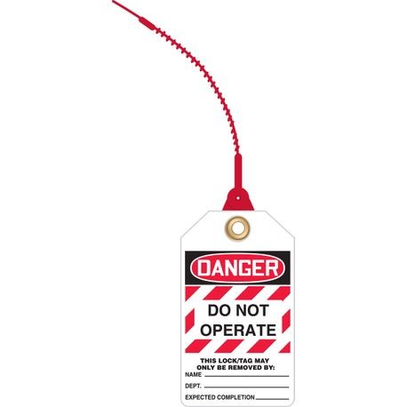 Accuform® TAK631 Loop 'n Lock™ Tie Tag: DANGER DO NOT OPERATE - THIS TAG MAY ONLY BE REMOVED BY (LOTO)