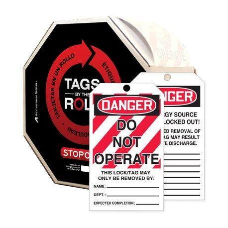 Accuform® TAR114 Tags By-The-Roll: DANGER DO NOT OPERATE (LOTO)