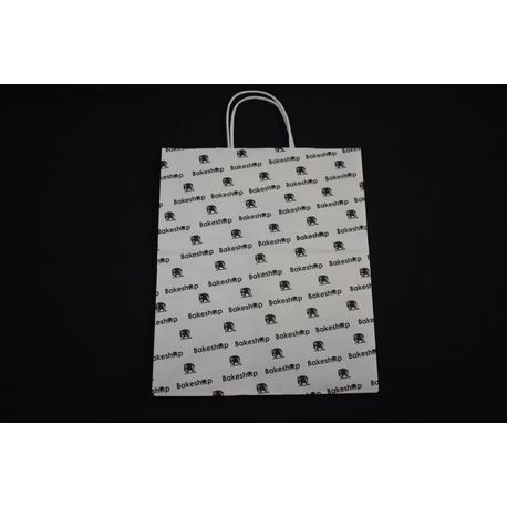 "Bakeshop 10"" x 7"" x 12"" White Shopping Bag"