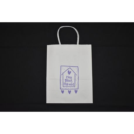 "Blue House 8"" x 4"" x 10"" White Bag (41001100)"
