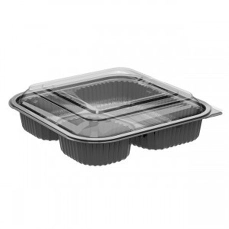 "Anchor Packaging® Culinary Squares® 80 oz 8.46"" x 8.46"" x 2.5"" Square 3 Compartment Container (CDS85323)"