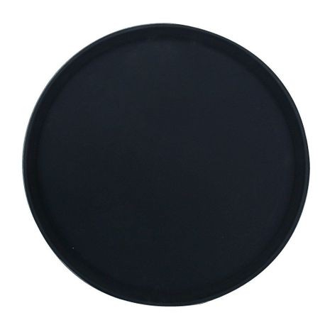 "Black 16"" Non-Slip Grip Round Poly Serving Tray"